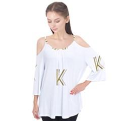 Monogrammed Monogram Initial Letter K Gold Chic Stylish Elegant Typography Flutter Tees by yoursparklingshop