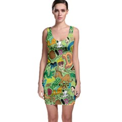 D Pattern Sleeveless Bodycon Dress by AnjaniArt