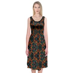Folk Geometric Line Pattern Midi Sleeveless Dress by Contest2481019