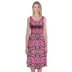 Hot Pink And Black Dutch Folk Floral Geometric Pattern Midi Sleeveless Dress by Contest2481019