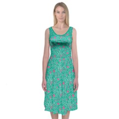 Leafy Midi Sleeveless Dress by Contest2481019