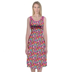 Spring Floral Midi Sleeveless Dress by Contest2481019