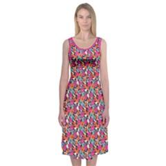 Spring Floral Midi Sleeveless Dress