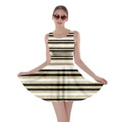 Gold Glitter, Black And White Stripes Skater Dress by LisaGuenDesign