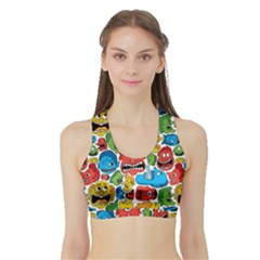 Face Creeps Cartoons Fun Sports Bra With Border by AnjaniArt