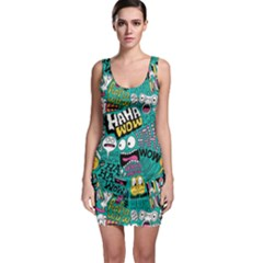 Haha Wow Pattern Sleeveless Bodycon Dress by AnjaniArt