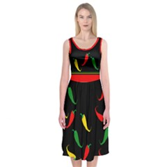 Hot Chilly Peppers  Midi Sleeveless Dress by Contest2491068