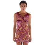 Pink Yellow Hippie Flower Pattern Zz0106 Wrap Front Bodycon Dress