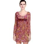 Pink Yellow Hippie Flower Pattern Zz0106 Long Sleeve Velvet Bodycon Dress