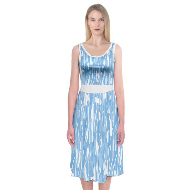 Blue elegant design Midi Sleeveless Dress
