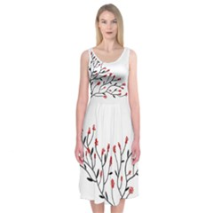 Elegant Floral Tree Midi Sleeveless Dress by Contest2491068