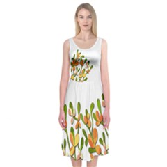 Orange Flowers Midi Sleeveless Dress by Contest2491068