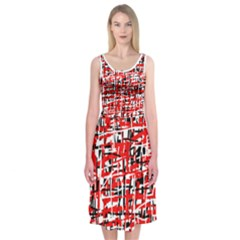 Red, Black And White Abstract Design Midi Sleeveless Dress by Contest2491068