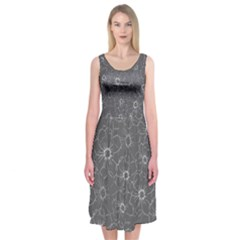 Gray And White Daisies  Midi Sleeveless Dress by Contest2481019