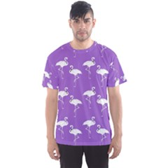 Flamingos Pattern White Purple Men s Sport Mesh Tee by CrypticFragmentsColors