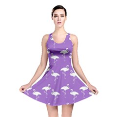 Flamingos Pattern White Purple Reversible Skater Dress by CrypticFragmentsColors