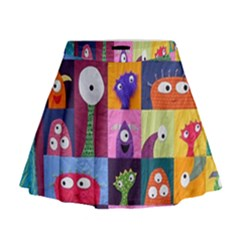 Monster Quilt Mini Flare Skirt by AnjaniArt