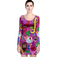 Pattern Monsters Long Sleeve Bodycon Dress