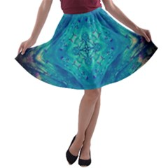 Boho Hippie Tie Dye Retro Seventies Blue Violet A Line Skater Skirt by CrypticFragmentsDesign