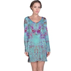 Retro Hippie Abstract Floral Blue Violet Long Sleeve Nightdress by CrypticFragmentsDesign