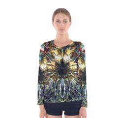 Metallic Abstract Flower Copper Patina Women s Long Sleeve Tee by CrypticFragmentsDesign