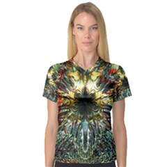 Metallic Abstract Flower Copper Patina Women s V Neck Sport Mesh Tee by CrypticFragmentsDesign