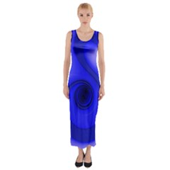 Blue Spiral Note Fitted Maxi Dress by CrypticFragmentsDesign