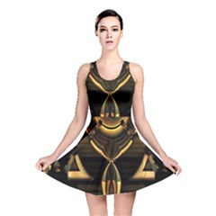 Golden Metallic Abstract Modern Art Reversible Skater Dress by CrypticFragmentsDesign
