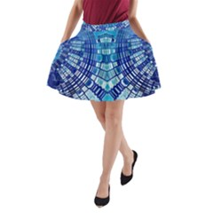 Blue Mirror Abstract Geometric A Line Pocket Skirt by CrypticFragmentsDesign