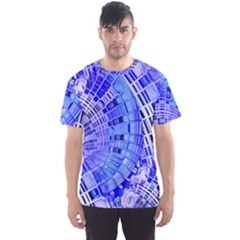 Semi Circles Abstract Geometric Modern Art Blue  Men s Sport Mesh Tee by CrypticFragmentsDesign