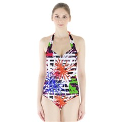 Colorful Big Bang Halter Swimsuit by Valentinaart