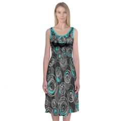Blue And Gray Decorative Abstraction Midi Sleeveless Dress by Contest2491068