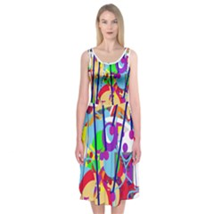 Colorful Madnesss Midi Sleeveless Dress by Contest2491068