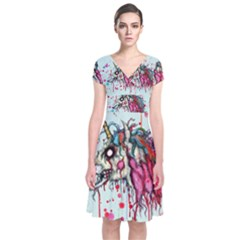 Zombie Unicorn Short Sleeve Front Wrap Dress by lvbart