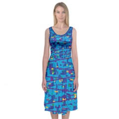 Blue Decorative Design Midi Sleeveless Dress by Contest2491068