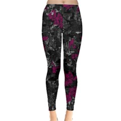 Magenta And Gray Decorative Art Leggings  by Valentinaart