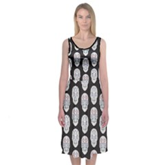 Sugar Skulls On Black Midi Sleeveless Dress by Contest2504870