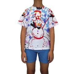 Snowman Kids  Short Sleeve Swimwear by Valentinaart