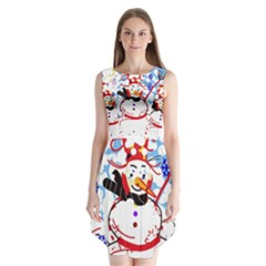 Snowman Sleeveless Chiffon Dress   by Valentinaart