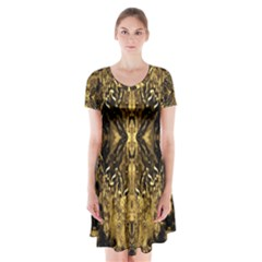 Beautiful Gold Brown Traditional Pattern Short Sleeve V Neck Flare Dress by Costasonlineshop