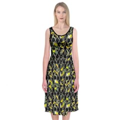 Birdies On Black Midi Sleeveless Dress