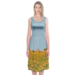 Field Of Sunflowers Midi Sleeveless Dress