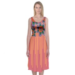 Colorful Floral Dream  Midi Sleeveless Dress by Contest2502465