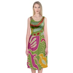 Green Organic Abstract  Midi Sleeveless Dress by Contest2502465
