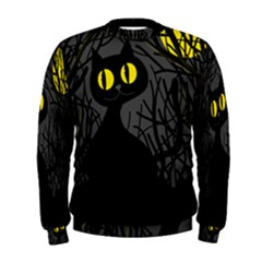 Black Cat   Halloween Men s Sweatshirt by Valentinaart