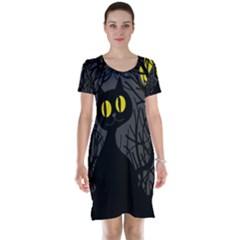 Black Cat   Halloween Short Sleeve Nightdress by Valentinaart