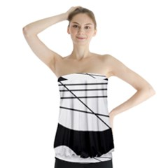 White And Black Waves Strapless Top by Valentinaart
