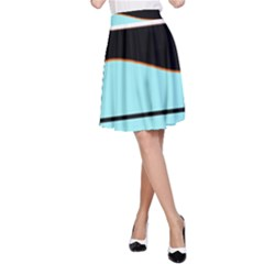 Cyan, Black And White Waves A Line Skirt by Valentinaart