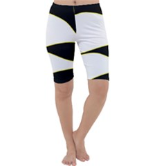 Yellow, Black And White Cropped Leggings  by Valentinaart