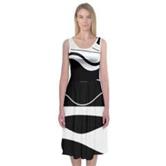 Black And White Harmony Midi Sleeveless Dress by Contest2491068